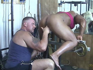 british muscle woman sucks cock gets
